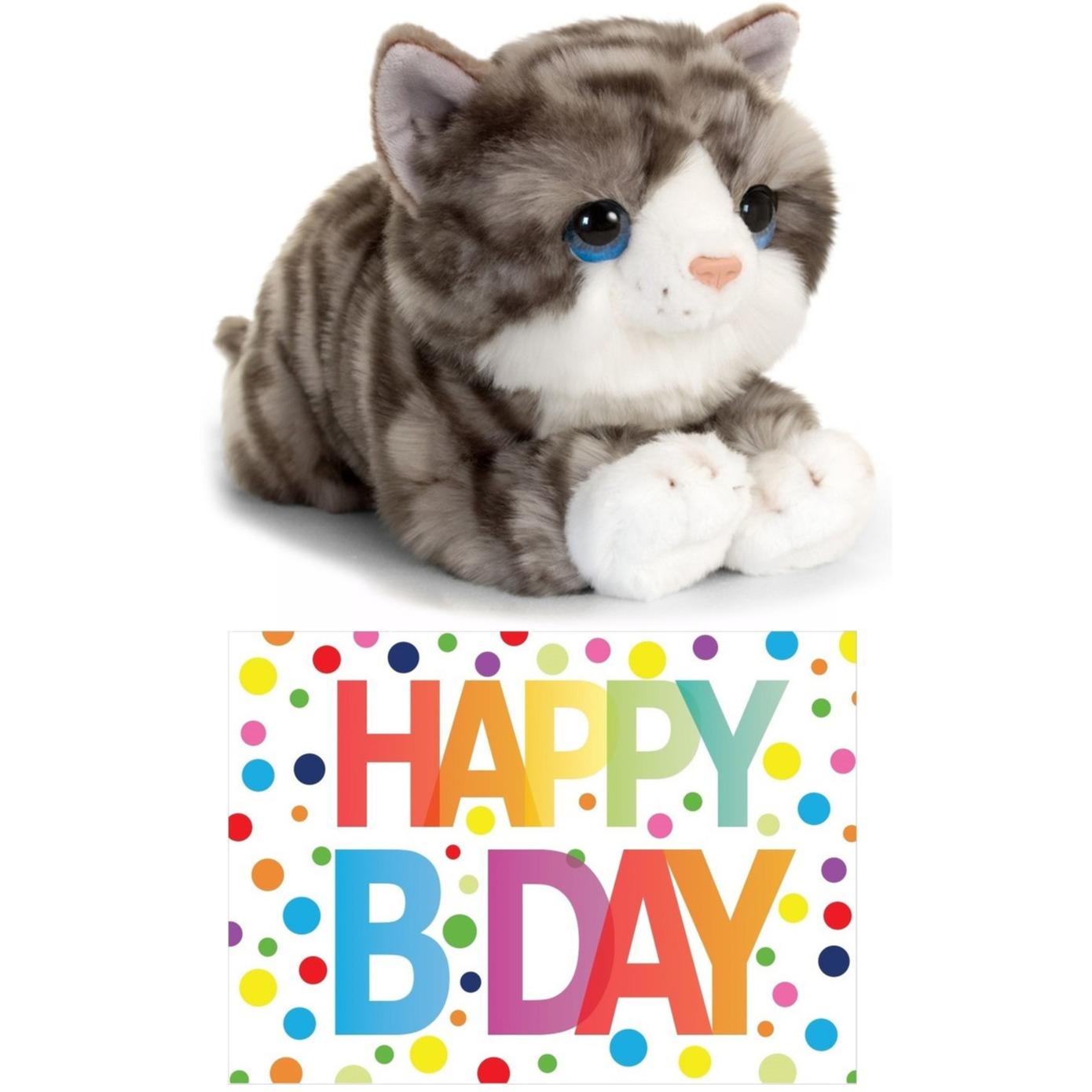Cadeau setje pluche grijze kat/poes knuffel 32 cm met Happy Birthday wenskaart