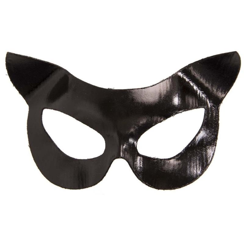 Catwoman look dierenmasker vinyl voor volwassenen