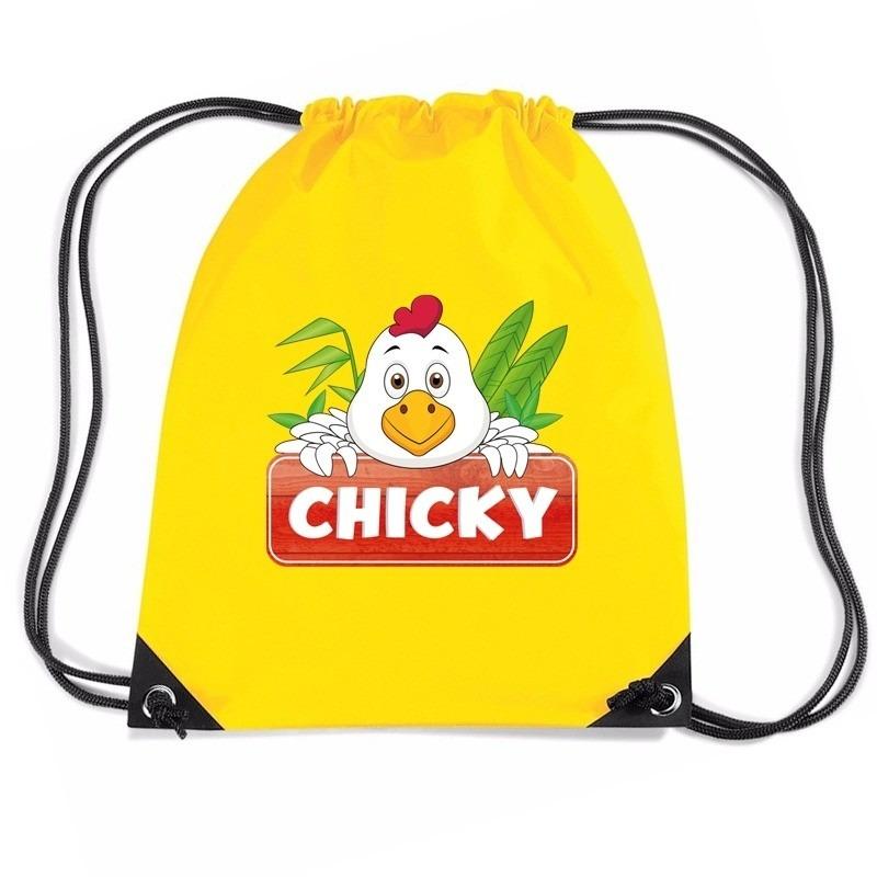 Chicky de Kip trekkoord rugzak - gymtas geel voor kinderen