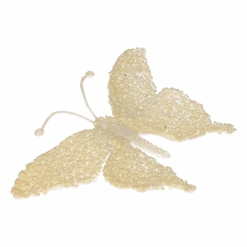 Creme deco vlinder met glitters 18 x 14 cm