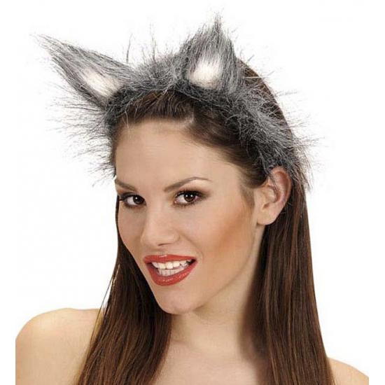 Diadeem met wolvenoren halloween verkleed accessoire
