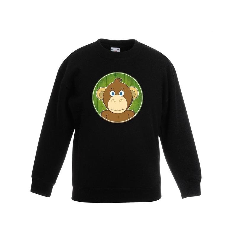 Dieren aap trui zwart jongens en meisjes