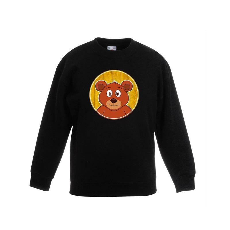 Dieren beer trui zwart jongens en meisjes