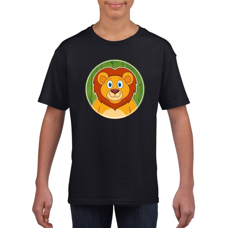 Dieren leeuw shirt zwart jongens en meisjes