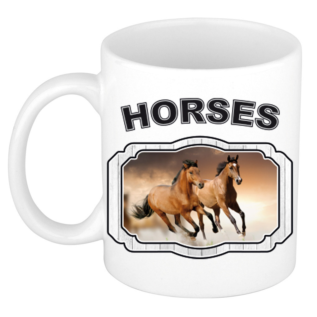 Dieren liefhebber bruin paard mok 300 ml - paarden beker