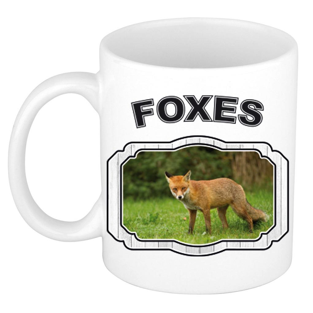 Dieren liefhebber bruine vos mok 300 ml - vossen beker