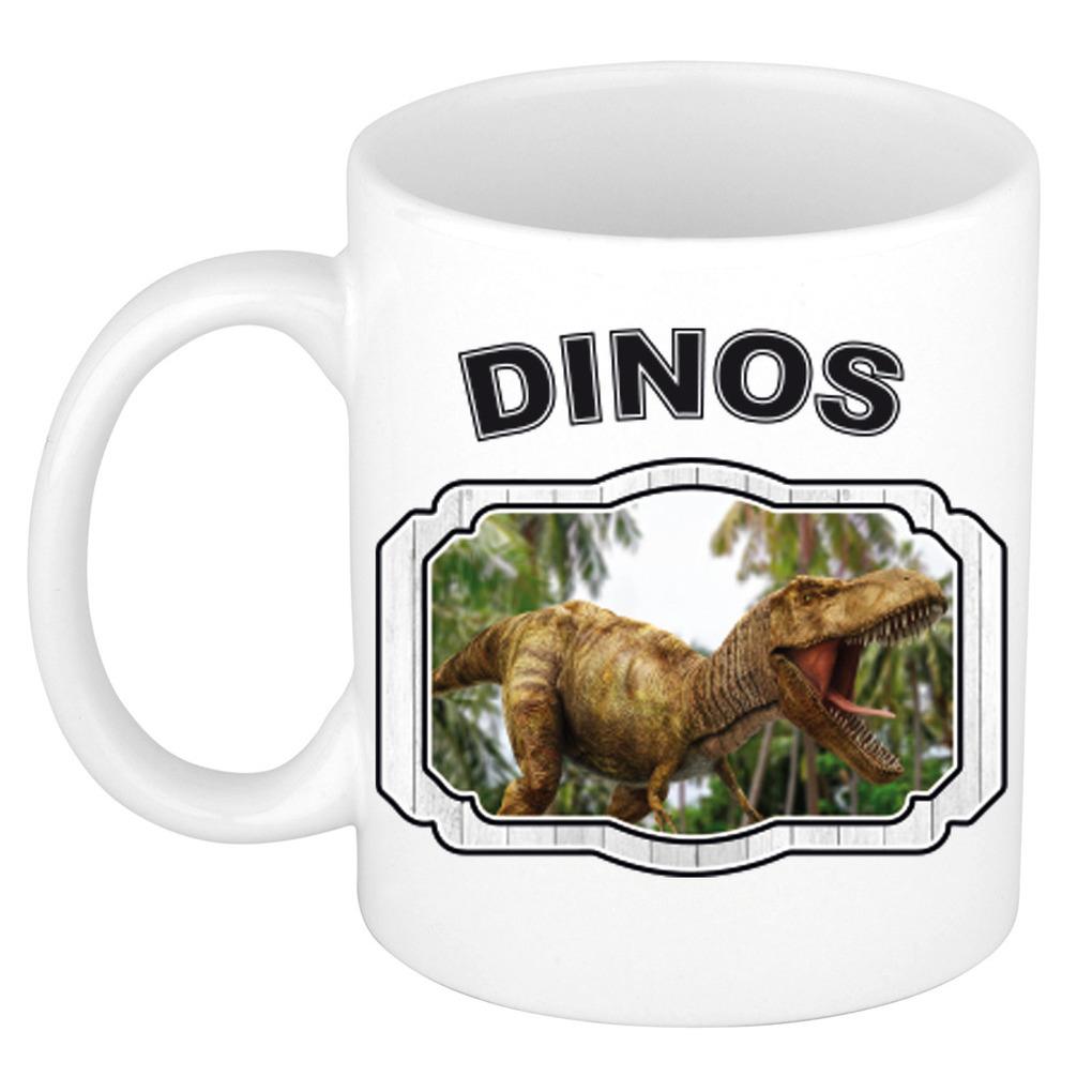 Dieren liefhebber brullende t-rex dinosaurus mok 300 ml - dinosaurussen beker