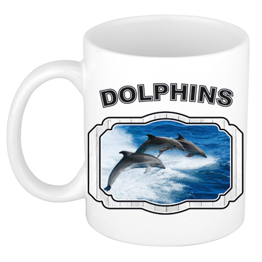 Dieren liefhebber dolfijn groep mok 300 ml - dolfijnen beker