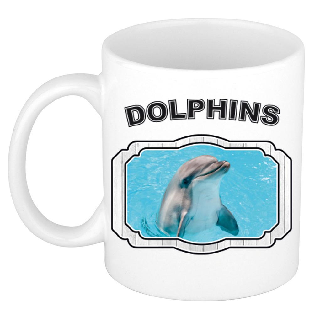 Dieren liefhebber dolfijn mok 300 ml - dolfijnen beker