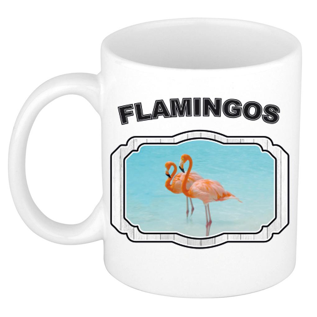Dieren liefhebber flamingo mok 300 ml - flamingo vogels beker