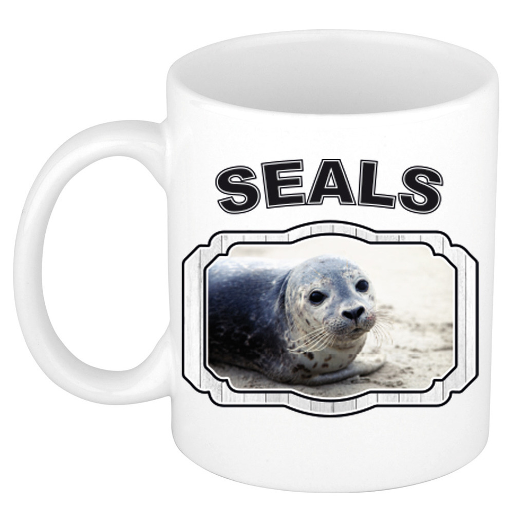 Dieren liefhebber grijze zeehond mok 300 ml - zeehonden beker