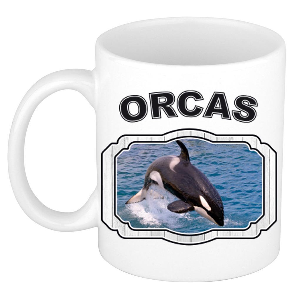 Dieren liefhebber grote orka mok 300 ml - orka walvissen beker