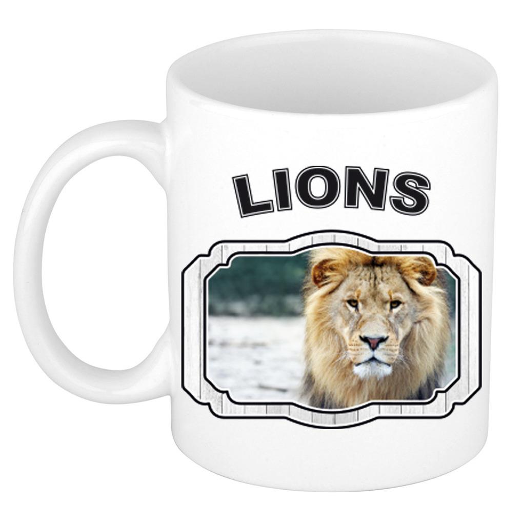 Dieren liefhebber leeuw mok 300 ml - leeuwen beker