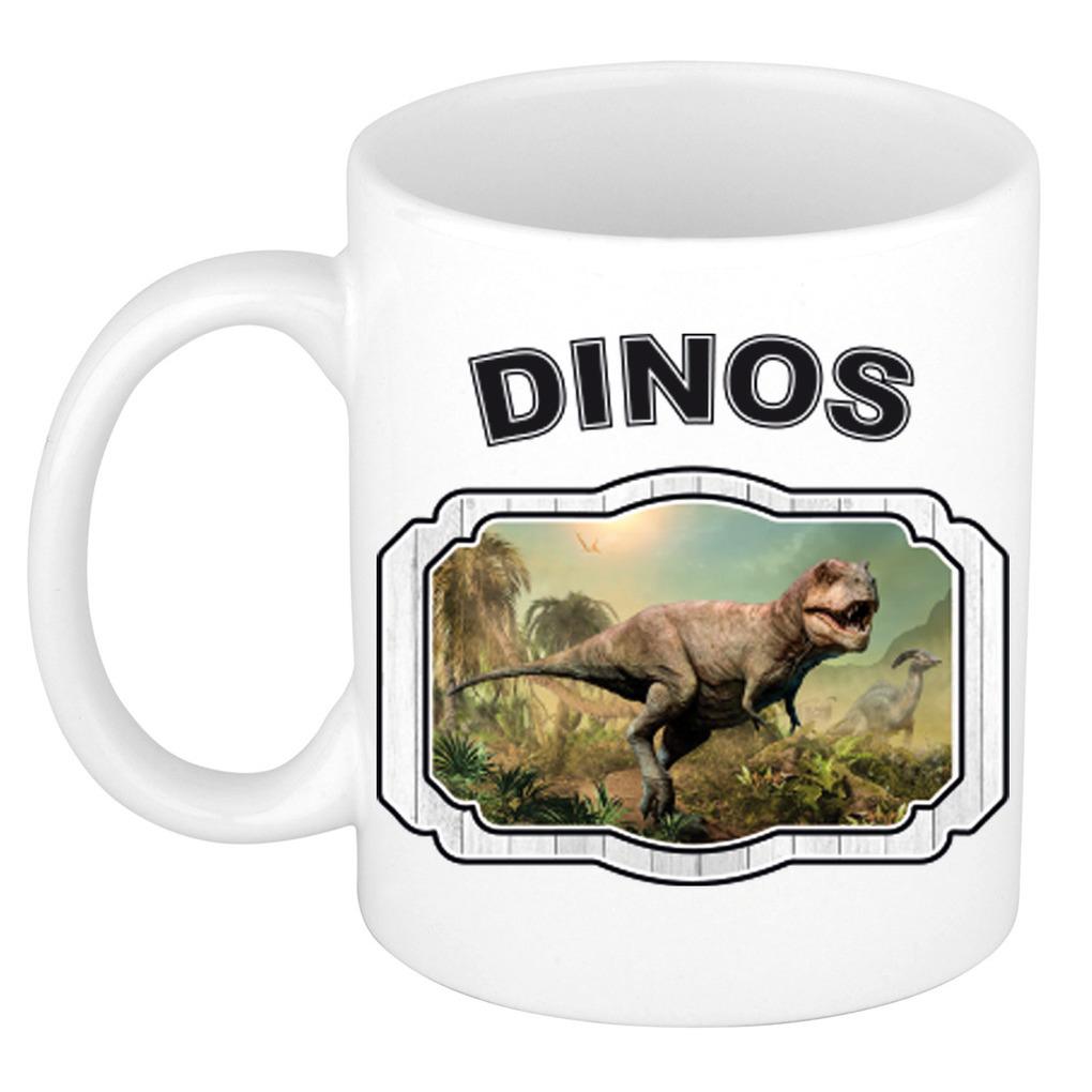 Dieren liefhebber stoere t-rex dinosaurus mok 300 ml - dinosaurussen beker