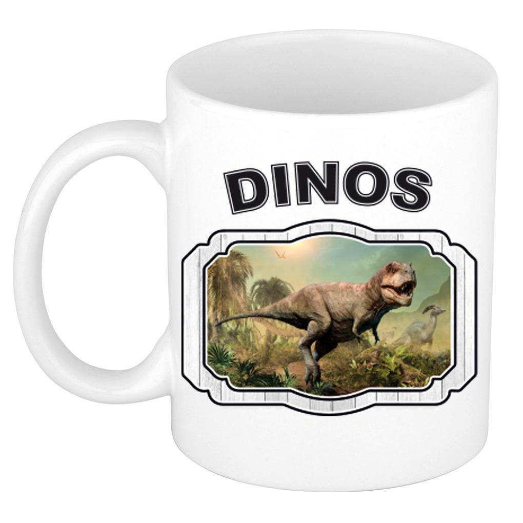 Dieren liefhebber t-rex dinosaurus mok 300 ml - dinosaurussen beker