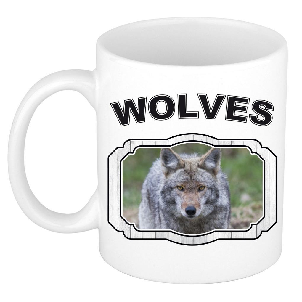 Dieren liefhebber wolf mok 300 ml - wolven beker