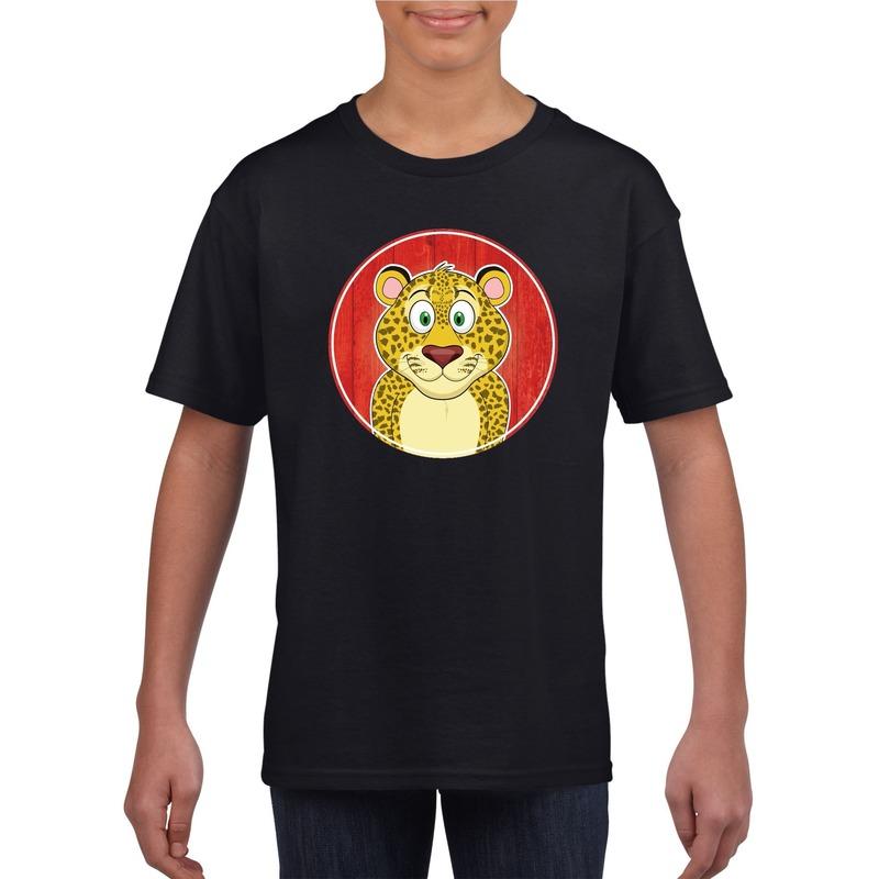 Dieren luipaard shirt zwart jongens en meisjes