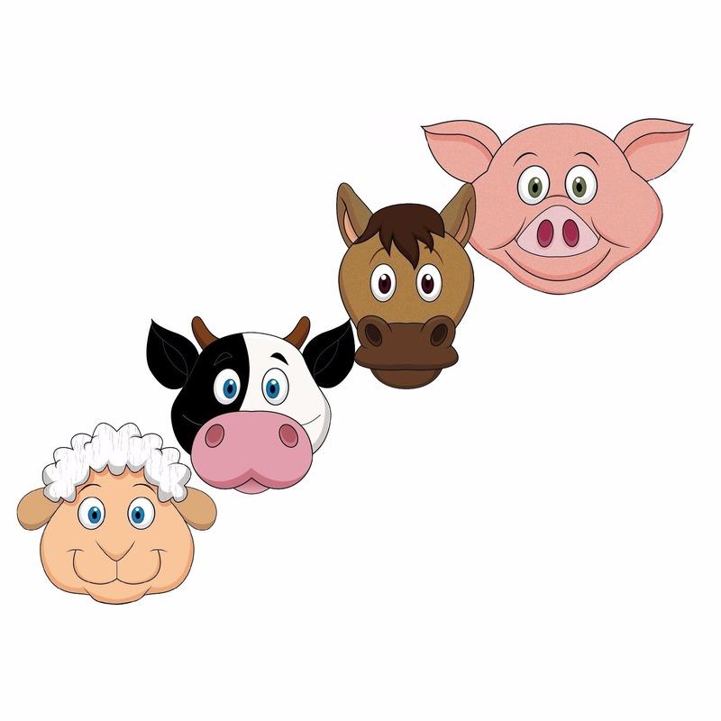 Dieren maskers boerderij dieren voor kids