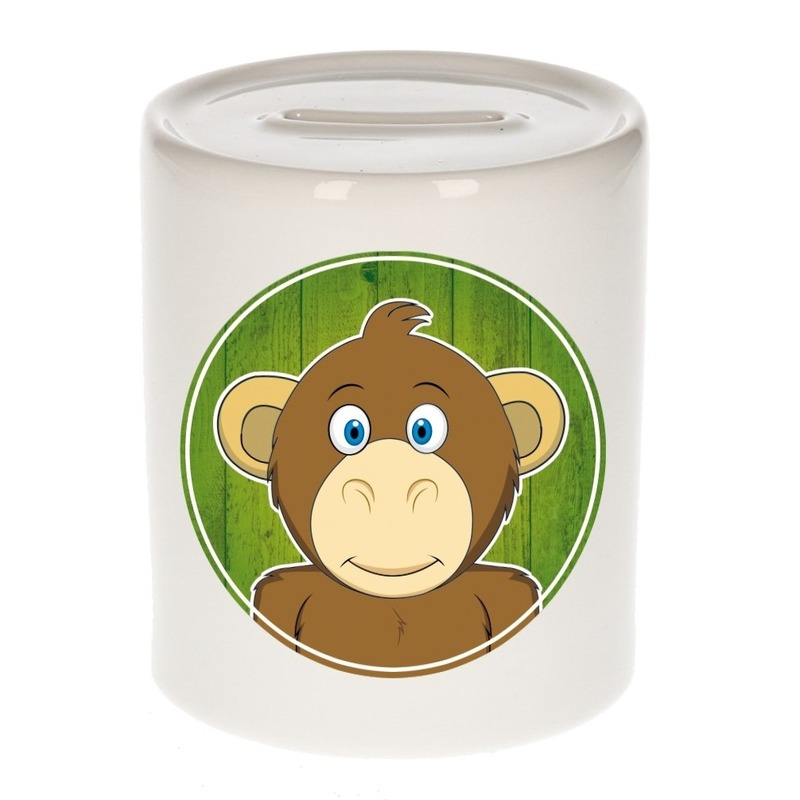 Dieren spaarpot aap voor kinderen 9 cm