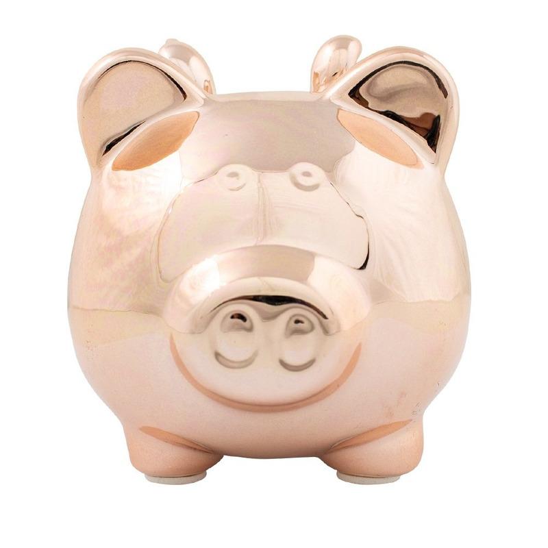 Dieren spaarpot rose goud varken/big voor kinderen/volwassenen 21 cm