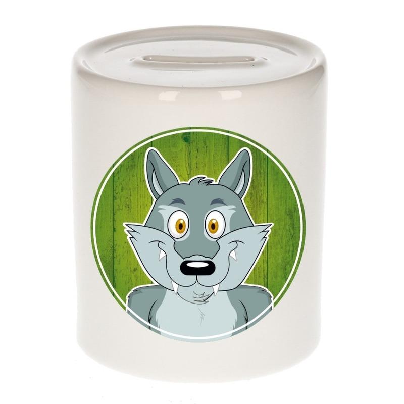 Dieren spaarpot wolf voor kinderen 9 cm