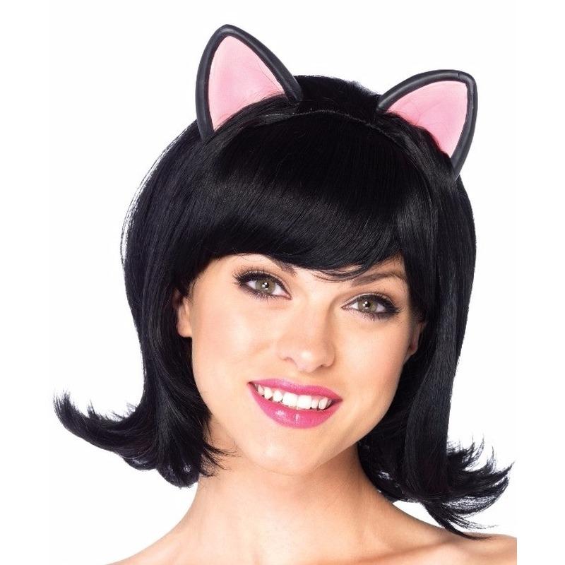 Dieren verkleed pruik kat/poes zwart