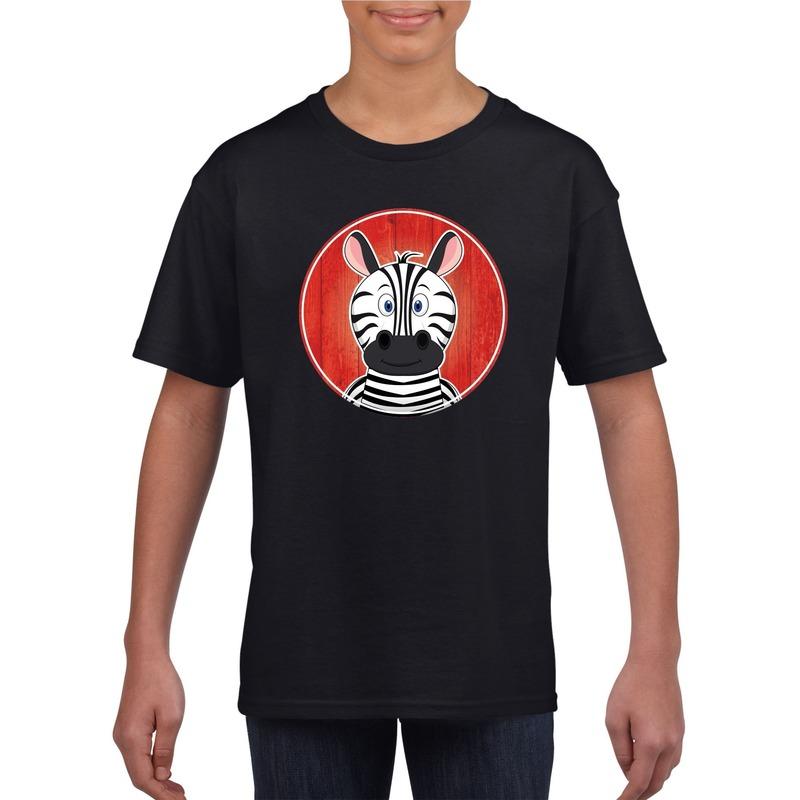 Dieren zebra shirt zwart jongens en meisjes
