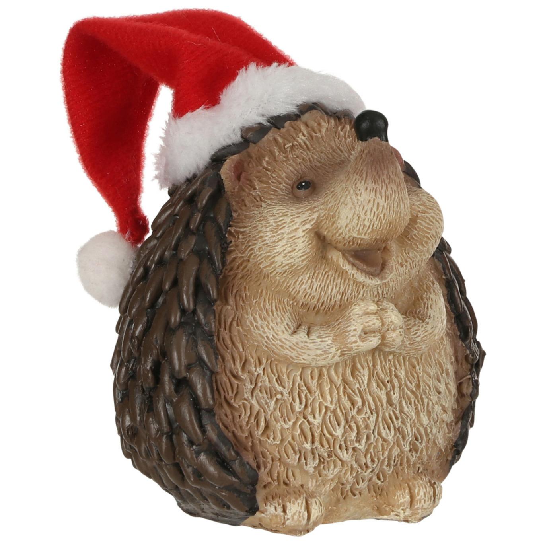 Afbeelding Dierenbeeldjes egel met kerstmuts kerstdecoraties 9 cm door Animals Giftshop