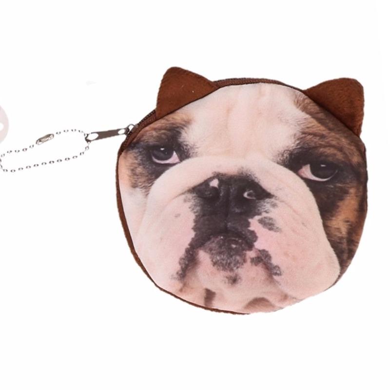 Dierenprint portemonnee bulldog 10 x 11 cm
