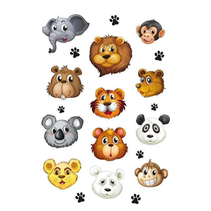 Dierentuin dieren met zacht kunststof hoofd stickervel met 12 stickers