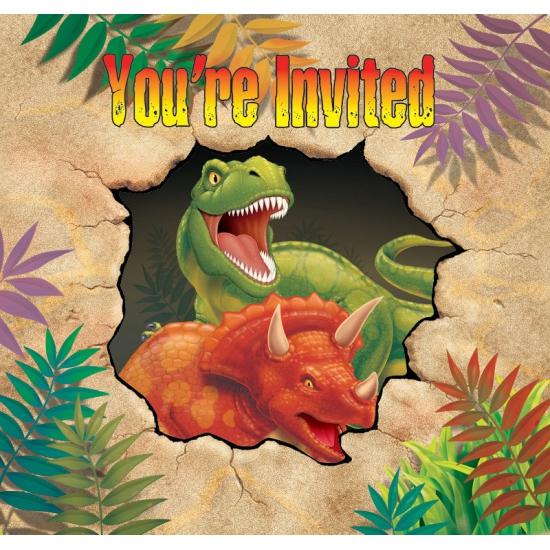 Dinosaurus thema uitnodigingen 8 stuks