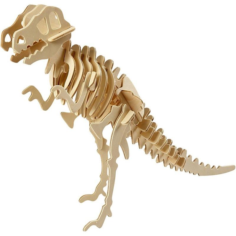 Dinosaurus velociraptor 3D puzzel hout bouwpakket 33 x 8 x 23 cm