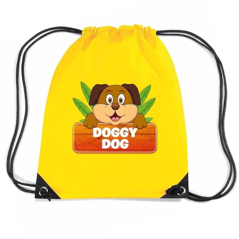 Doggy Dog het hondje trekkoord rugzak - gymtas geel voor kinderen