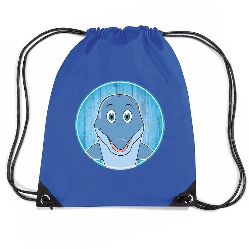 Dolfijn dieren trekkoord rugzak - gymtas blauw voor kinderen