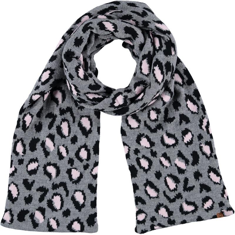 Dubbel laagse gebreide sjaal voor kinderen met luipaard print grijs
