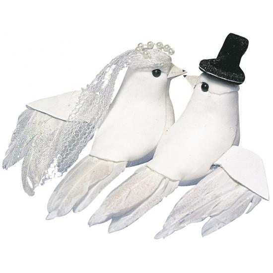 Duifjes bruidspaar 8 cm Bruiloft feestartikelen
