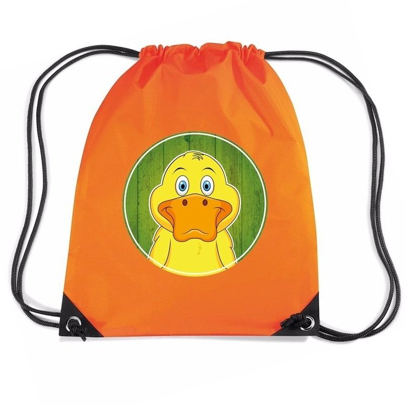 Eend dieren trekkoord rugzak - gymtas oranje voor kinderen