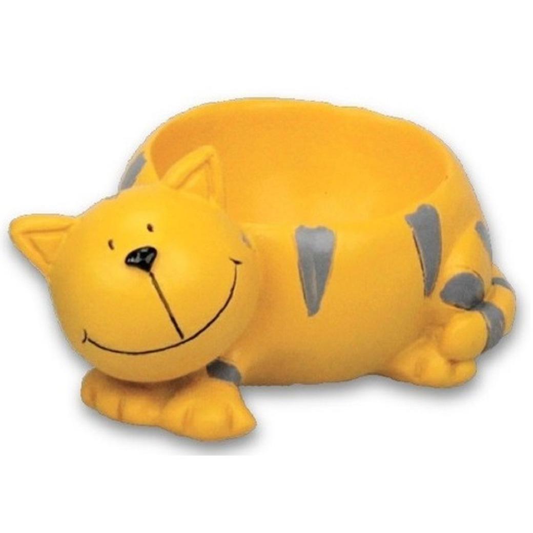 Eierdopje kat/poes geel 8.5 x 5 x 6 cm