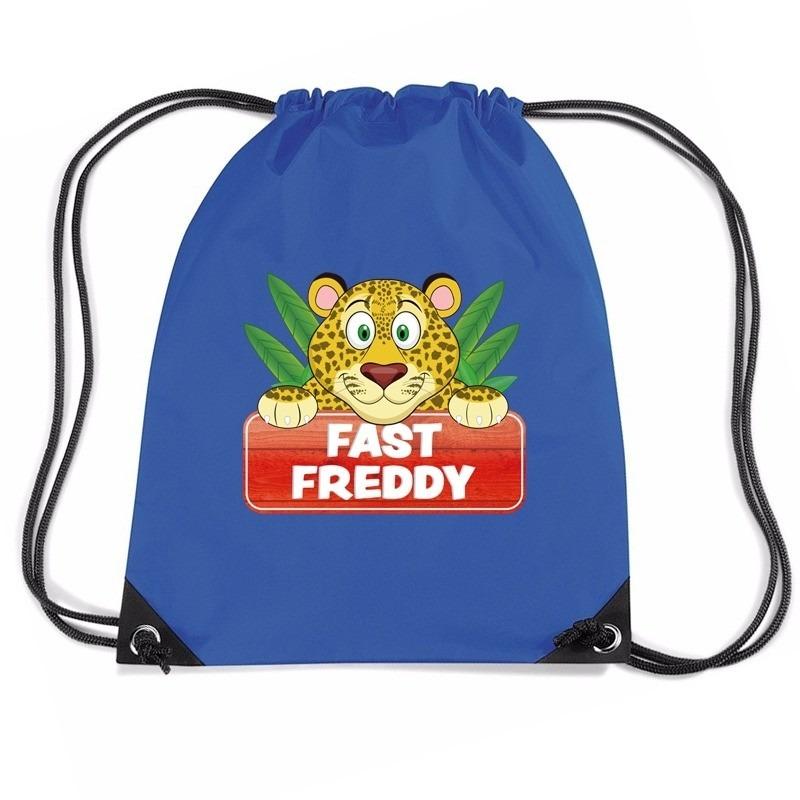 Fast Freddy het jachtluipaard trekkoord rugzak - gymtas blauw voor kinderen