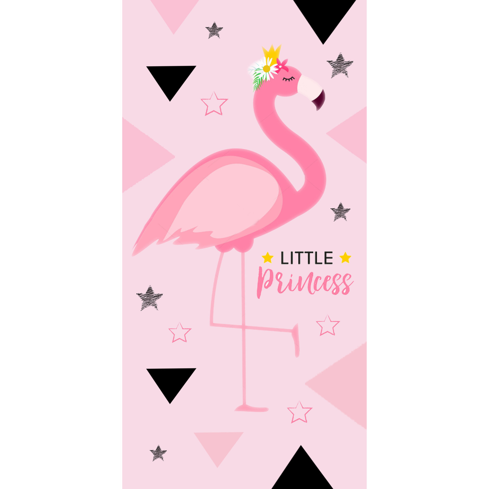 Flamingo badhanddoek roze 70 x 140 cm
