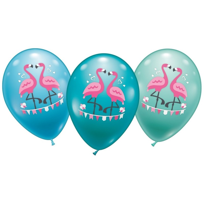 Flamingo hawaii thema ballonnen 6x stuks