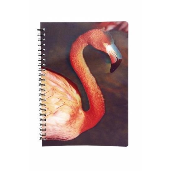Flamingo vogel thema schrift/notietieblok 3D 21cm