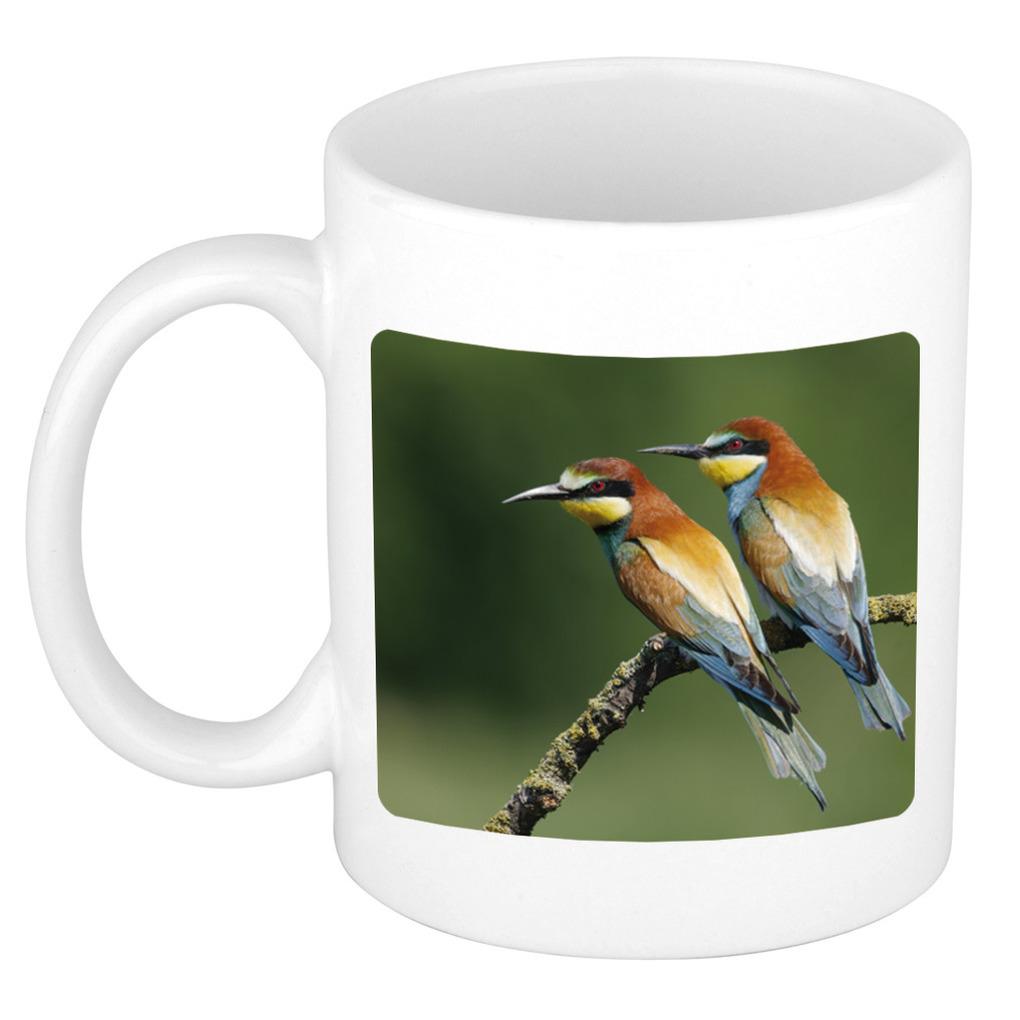 Foto mok bijeneter vogel mok - beker 300 ml - Cadeau vogels liefhebber