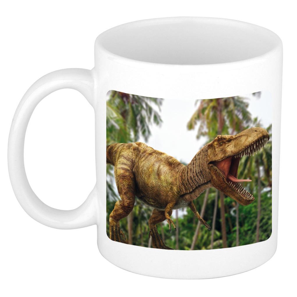 Foto mok brullende t-rex dinosaurus mok - beker 300 ml - Cadeau dinosaurussen liefhebber