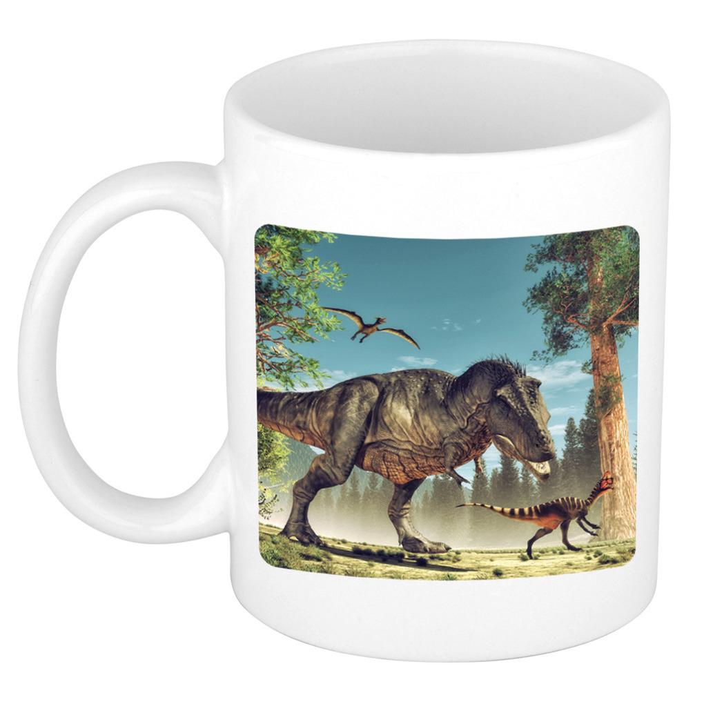 Foto mok dinosaurus t-rex mok - beker 300 ml - Cadeau dinosaurussen liefhebber
