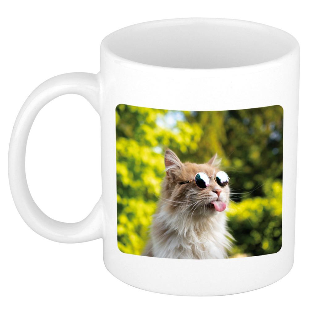 Foto mok gekke poes mok - beker 300 ml - Cadeau katten liefhebber