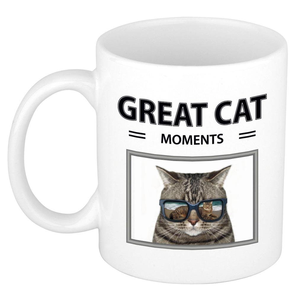 Foto mok grijze kat beker - great cat moments cadeau katten liefhebber