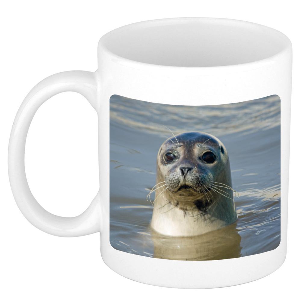 Afbeelding Foto mok grijze zeehond mok / beker 300 ml - Cadeau zeehonden liefhebber door Animals Giftshop