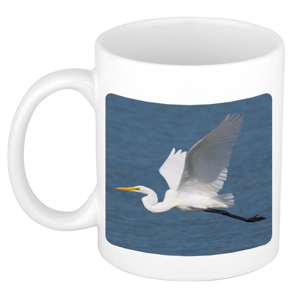 Foto mok grote zilverreiger mok / beker 300 ml - Cadeau vogels liefhebber