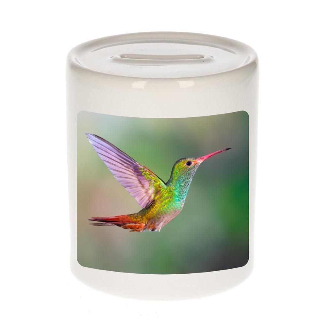 Foto mok kolibrie vogel spaarpot 9 cm - Cadeau vogels liefhebber